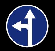 Движение прямо или налево. Предписывающие знаки