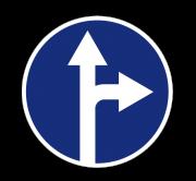 Движение прямо или направо. Предписывающие знаки