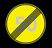 Конец зоны ограничения максимальной скорости. Временные дорожные знаки