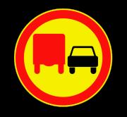 Обгон грузовым автомобилям запрещен. Временные дорожные знаки