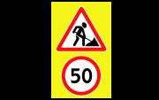 Обозначение предремонтной зоны. Временные дорожные знаки