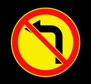 Поворот налево запрещен. Временные дорожные знаки