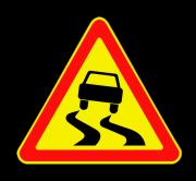 Скользкая дорога. Временные дорожные знаки