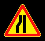 Сужение дороги слева. Временные дорожные знаки