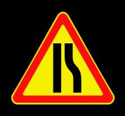 Сужение дороги справа. Временные дорожные знаки